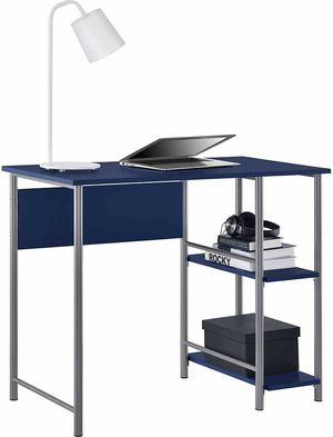 Basic Student Desk Features Side Shelving Storage, Navy for Sale in Indianapolis, IN