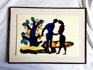 A vintage Mid-Century Modern Japanese Tile Art Adam and Eve for Sale in Tacoma, WA