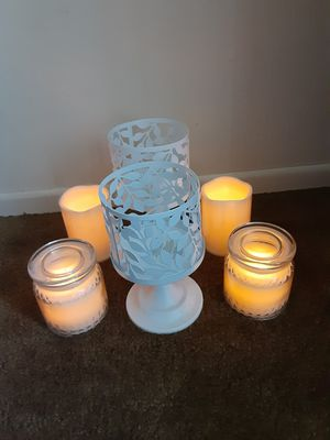 4 flameless candles with timer/metal candle holders ,sleeves are removable for Sale in San Diego, CA