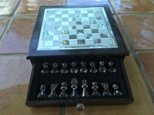 Glass top and wooden chess board game with 2 drawer storage for Sale in Parkland, FL