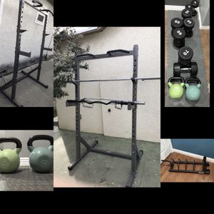 Home Gym Fitness Equipment/ Squat Racks/ Bench Press / Olympic plates/ Bumpers/ Olympic curl bar/ Adjustable Bench/ Urethane Dumbbells for Sale in San Gabriel, CA