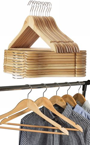 New in box 20 Pack Premium Wooden Hangers Natural Finish Glossy Shine Utopia Home Hangers for Sale in San Dimas, CA