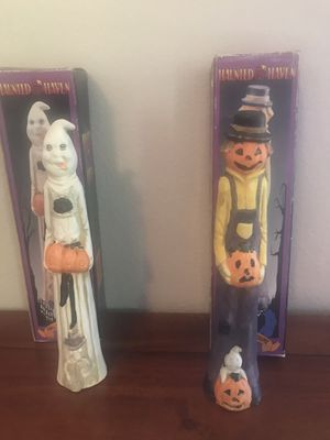 2 -Haunted Haven Genuine Porcelain w/finely detailed hand painted features Halloween Figures for Sale in Kennewick, WA