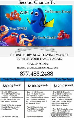 NO CREDIT CHECK NO MONEY DOWN INTERNET PHONE AND TV! for