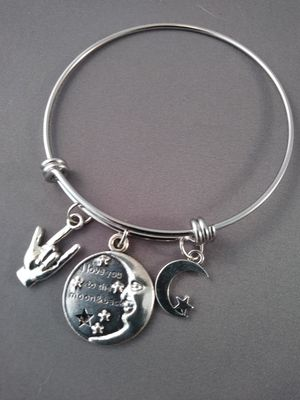 ASL I love you to the moon and back bangle bracelet for Sale in Nashua, NH