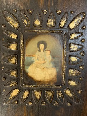 Spanish Mission Style Mother and Child on Heavy Wood with designs surrounding picture. for Sale in Broken Arrow, OK