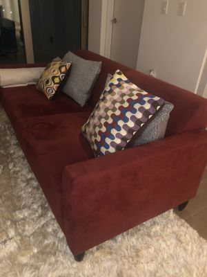 Red suede Couch Sofa Like New for Sale in Boca Raton, FL