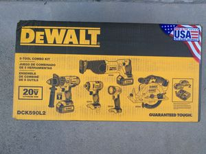 $400 firm. Still available. New Dewalt 20 volt hammer drill, impact driver, reciprocating saw, circular saw, led work light, 2 batteries & tool bag for Sale in West Columbia, SC
