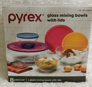 Pyrex Glass Mixing Bowls With Lids 8 Piece Set/ New for Sale in UPPR BLCK EDY, PA