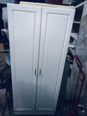 """White cabinet shelving storage shelf cupboard cabinet closet 70"""" tall for Sale in Fresno, CA"""