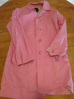 Pink Coach Leatherware Rain Winter Coat Shell Medium M 100% Cotton Jacket Women for Sale in Belmont, MA