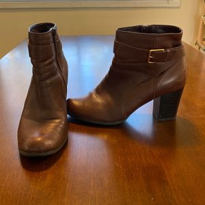 Cole Haan Brown Heeled Boots Size 8 Gold Buckel for Sale in Alexandria, VA
