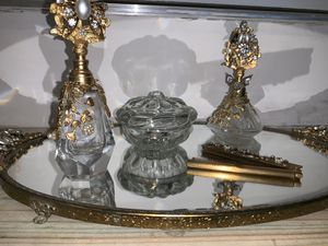 Antique Vintage Art Deco Ormulu Filigree Vanity Dresser Set Tray Perfume Bottles Casket for Sale in Omaha, NE