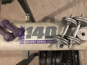 Full weight set! Bench, bar, belt, 100lbs + 30lb free weight set, leg curl extension, 6lb hand weights. Delivery possible for additional charge. Gent for Sale in Brooklyn, NY