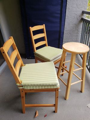 Wooden Chair Set with Stool for Sale in Santa Clara, CA