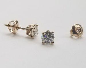 1.00 Carat G SI2 Ideal Cut Diamond Stud Earrings in 14K Yellow Gold for Sale in Union City, NJ