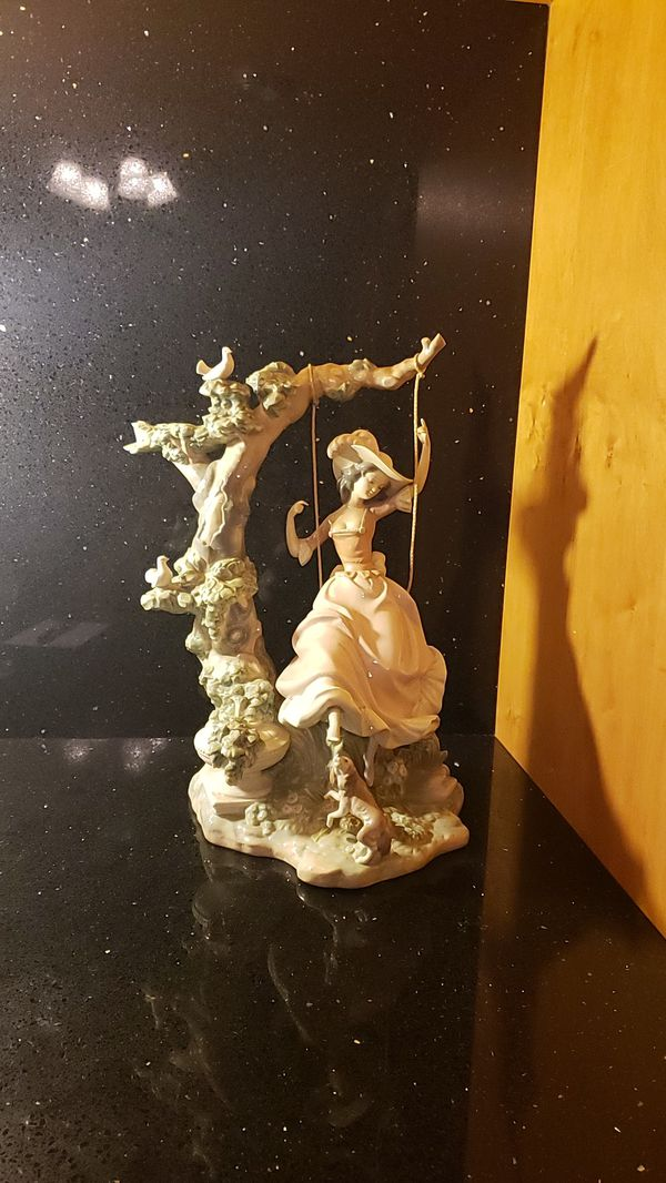 Lladro #1297 Victorian Girl On Tree Swing With Dog and Birds