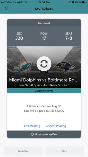 Two tickets for season opener at Hard Rock Stadium . Miami Dolphins vs Balt Ravens for Sale in Cape Coral, FL