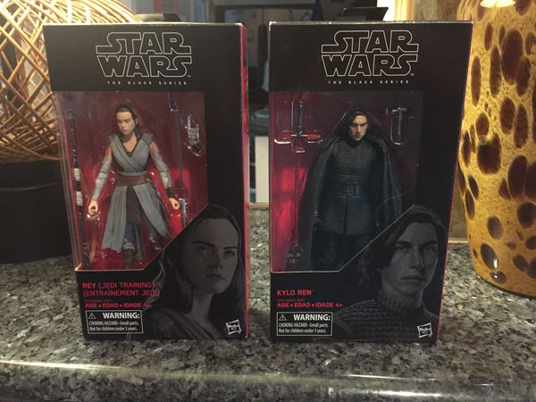 Rey (Jedi Training) and Kylo Ren black series action figures