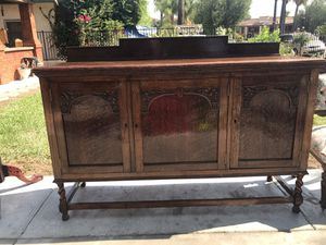 Antique Buffet (year 1925) Hand-carved cabinet panels (full oak) for Sale in Lake Elsinore, CA