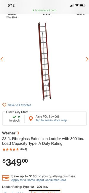 Werner 28 foot fiberglass ladder for Sale in Columbus, OH