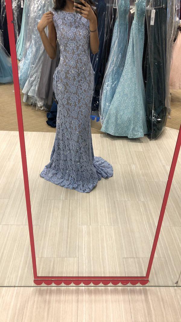 Jovani designer light blue long prom dress