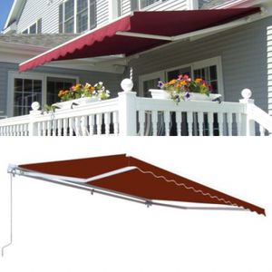 New in box Manual Patio 10 feet wide × 8' Retractable Sunshade Awning deck cover sun block canopy shade burgundy green or beige color for Sale in Whittier, CA