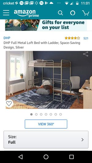 DHP Full Size Metal Loft Bed, in Silver***LOST SOME HARDWARE DURING SHIPPING & HAS A FEW SCRATCHES, OTHERWISE ITS BRAND NEW AND IN GOOD CONDITION👌 for Sale in Glendale, AZ