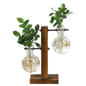Terrarium Hydroponic Plant Vases Vintage Flower Pot Transparent Vase Wooden Frame Glass Tabletop Plants Home Bonsai Decor for Sale in Alafaya, FL