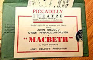 July 29, 1942 tickets to MACBETH at the PICCADILLY THEATRE IN LONDON for Sale in Everett, WA