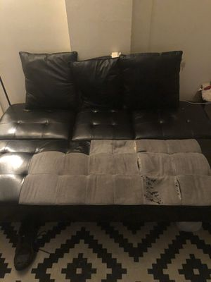 Black Faux Leather Futon Couch With Built In Cup Holders for Sale in Newark, NJ