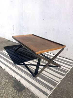 wood coffee table with crossed metal legs for Sale in Rowland Heights, CA