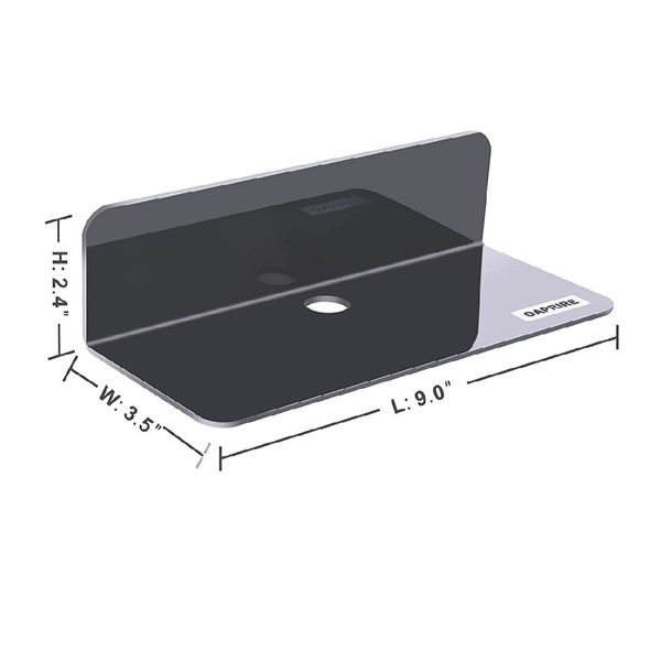Acrylic Floating Wall Shelves Set of 2, Damage-Free Expand Wall Space, Small Display Shelf
