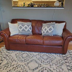 Leather Sofa Brown for Sale in Kirkland, WA