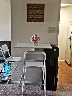 IKEA Norberg wall-mounted drop-leaf table with chairs. for Sale in Dallas, TX
