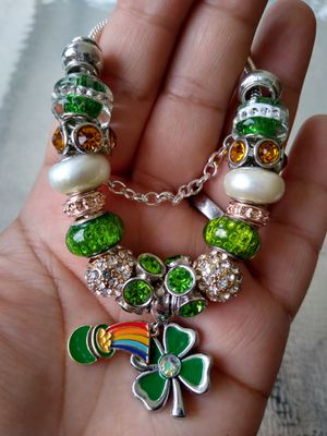 Lucky shamrock Pandora STYLE charm bracelet for Sale in Spring, TX