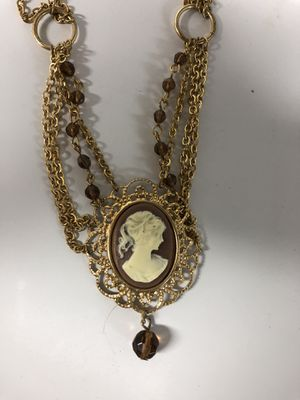 New Cameo Lady Brown Beaded Necklace for Sale in Parkville, MD