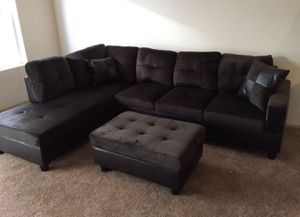 New espresso microfiber sectional couch with storage ottoman for Sale in Renton, WA