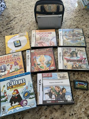 Nintendo DS lite, case, Pokémon, dragon quest, and other games for Sale in Louisville, OH