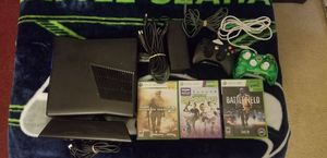 XBOX 360 S KINNECT 3 GAMES 2 CONTROLLERS POWER SUPPLY ALL CORDS for Sale in Tualatin, OR