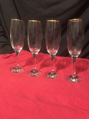 Set of 4 24K Gold Rimmed Flute Wine Glasses for Sale in North Ridgeville, OH