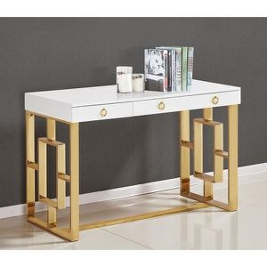 Brand NEW White Lacquer modern writing desk / gold legs 100% NEW in box for Sale in San Jose, CA