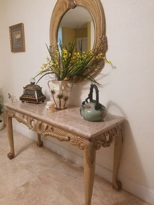 Set of wood and marble tables and mirror or buy individually for Sale in Hialeah, FL
