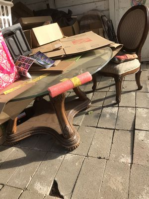 Glass and wood table with 4 chairs for Sale in Stockton, CA
