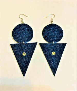 Geometric Denim Earring with Swavorski Crystals for Sale in Peoria, IL