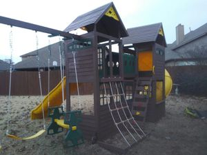 Wooden double tower playset for Sale in Irving, TX