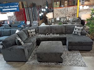 Sectional Couch with Ottoman, Smoke, SKU# ASH8070308TC for Sale in Norwalk, CA