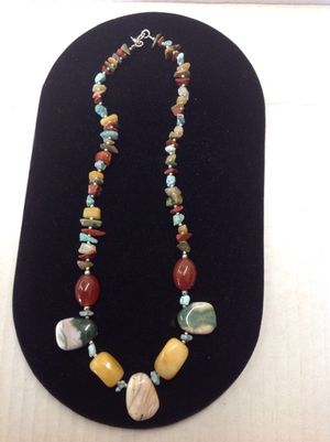"""Sterling silver and gemstone Handmade bead necklace 17"""" for Sale in Columbus, OH"""