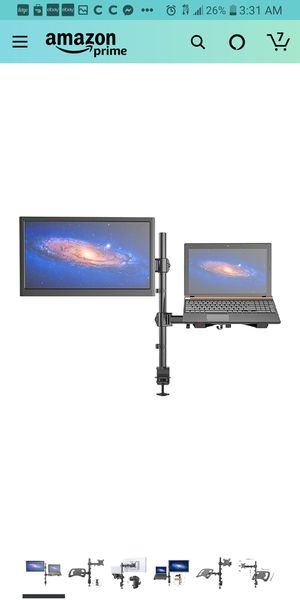 SHOPPINGALL Fully Adjustable Dual Gas Spring 2 in1 Monitor & Laptop OR Double Monitors Mount Stand for Sale in Cypress, CA