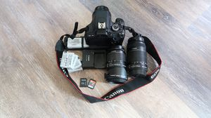 Canon EOS Rebel t3i w/ 3 lenses, bag, 6 batteries, extra battery pack/shooter attachment for Sale in Tukwila, WA